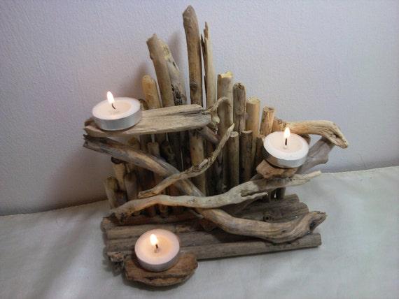 Bois flott th bougie lumineuse titulaire de centre table for Branche bois flotte blanc