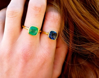 Green Onyx Ring - Gemstone Ring - Stacking Ring - Gold Ring