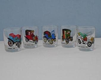 Set of 5 Vintage Car Shot Glasses 1960s