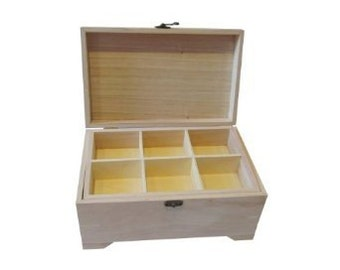 Plain Wooden Box for Keepsakes Memory Gift Jewellery or Sewing Storage - with Removable Tray - Craft / Decoupage Blank