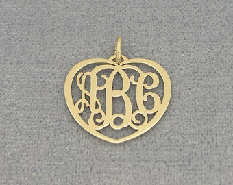 "10kt or 14kt Solid Gold 3 Initials Heart Monogram Pendant Necklace Fine Jewelry 3/4"" Wide GM51"