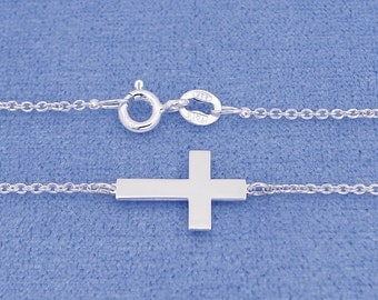Small Solid Sterling Silver Tiny Sideway Cross Charm Pendant Necklace SC10