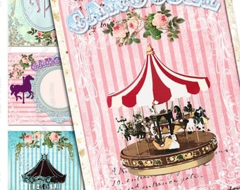 CAROUSEL printable atc aceo size  Digital collage sheet striped background hang tag instant download background vintage - ac122