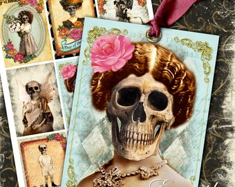 DAY OF DEATH printable digital collage sheet gift  skull bones dia de los muertos hang tag instant downloads background - ac132