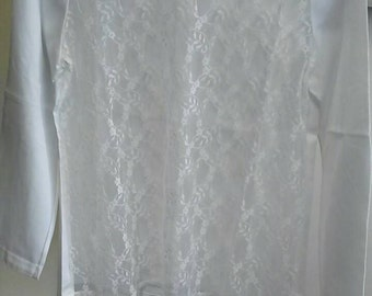 Vintage lace front blouse made in france