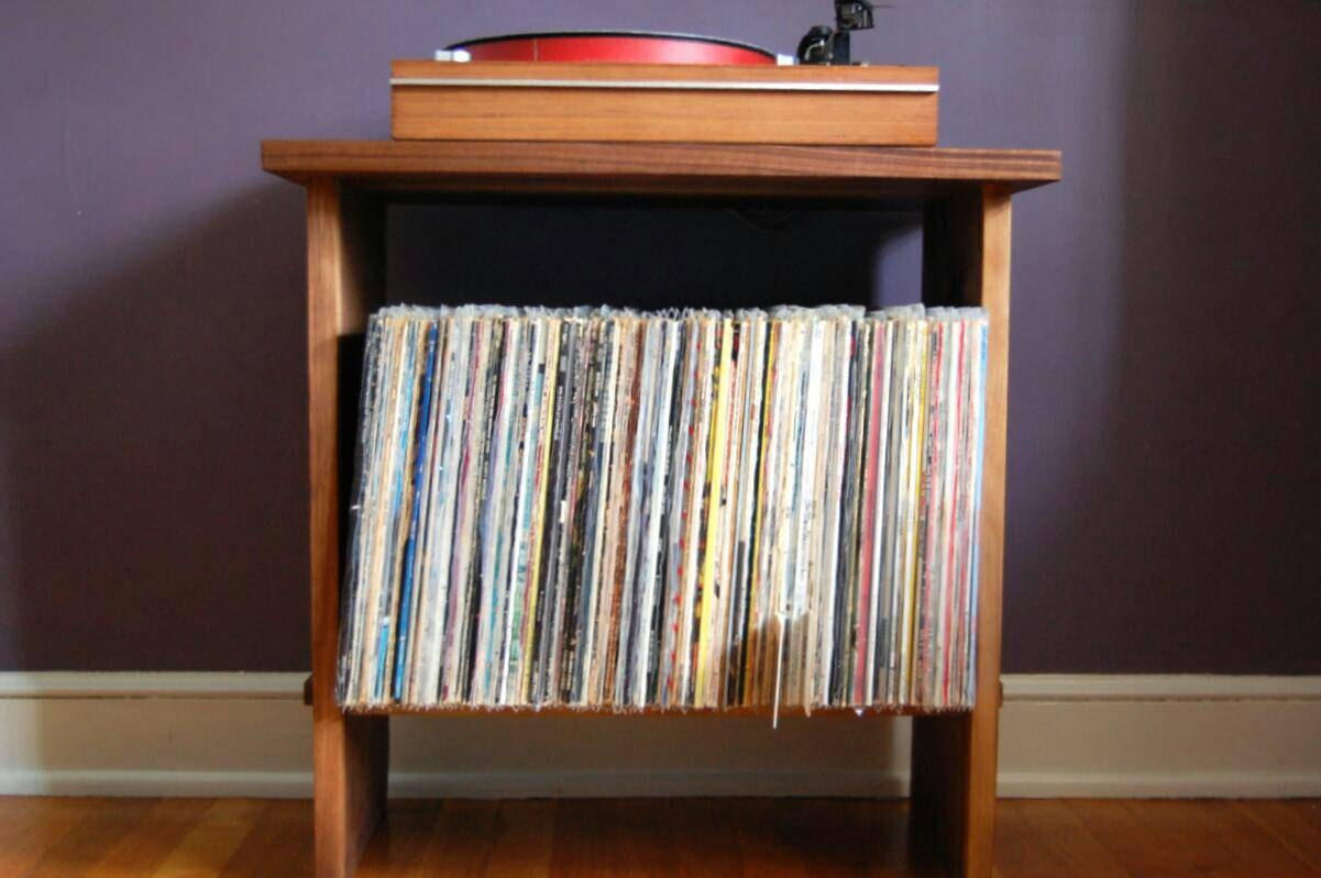 Solid Walnut Record Player Table And Lp Holder For 12