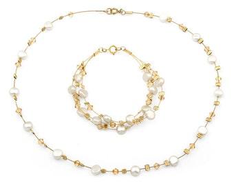 Bride Pearls Necklace Bracelet Set, Gold Pearls Necklace Bracelet, Bride Jewelry, Gold Filled and Swarovsky Necklace & Bracelet Classic Set