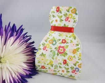 Set of 6 Flowers Favor Box,  Dress favor Box
