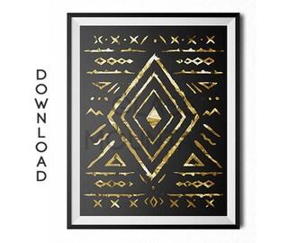 Black and Gold art, tribal print, Gold Tribal, Printable, Download, Folk Art, Illustration, Symbols, Modern art, Black print, gold foil art