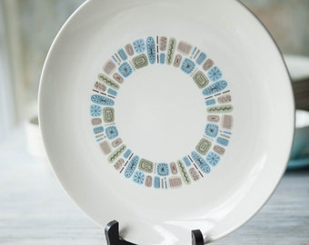 Temporama Dinner Plate by Canonsburg Pottery, Atomic Mid Century Plate, 1950s Dinnerware, Modern, Atomic, Turquoise, Made in USA