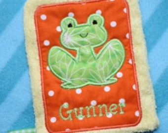Applique Frog Wash Mitt Embroidery Machine Design for the 5x7 hoop