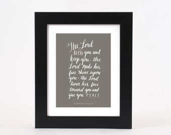 The Lord Bless You Bible Verse Calligraphy 8x10 Print