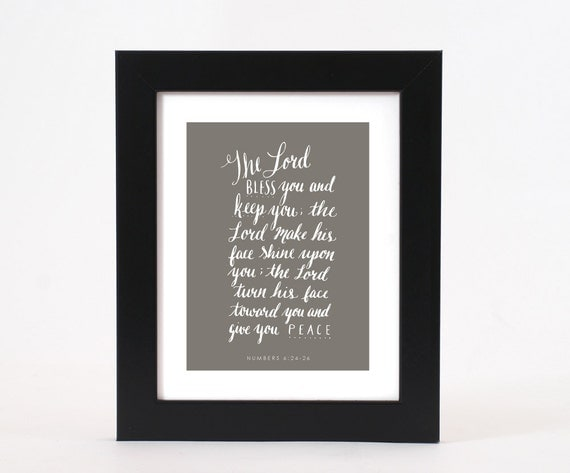 The lord bless you bible verse calligraphy print