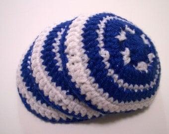 Hand Crochet Kippa, Hand Crochet Yarmulke, White and Blue Kippot, White and Blue Yarmulkes