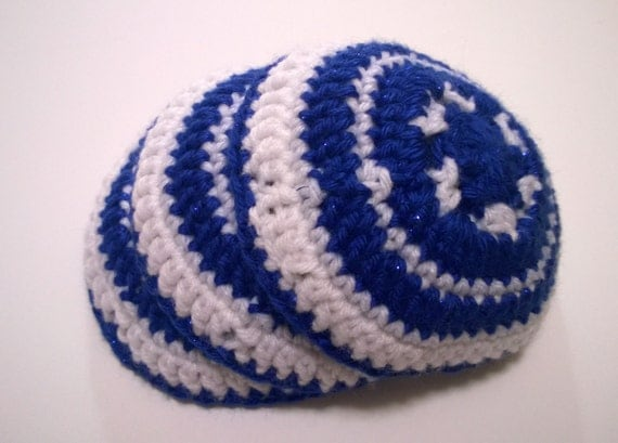 to Hand Crochet Kippa, Hand Crochet Yarmulke, White and Blue Kippot ...