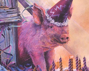 Birthday Card, Pig, Animal Birthday Card, Pig in Party Hat