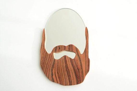 Pogo miroir barbe en bois cadeau design par ateliervirgil for Miroir a poser par terre