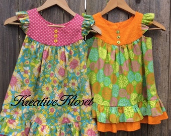 Toddler Brightly Colored Vintage Ruffled Sundress