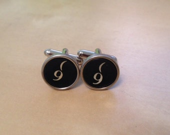 Number 9 Typewriter Key Jewelry Cufflinks. Authentic. No GLUE!  Custom jewelry.