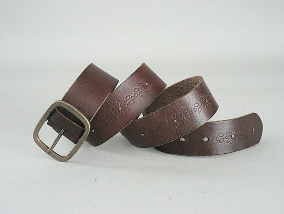 womens western brown leather belt