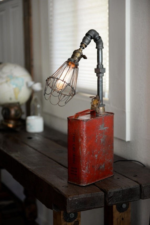 Gas oil can pipe lamp by hanigerandco on etsy for Gas pipe lamp