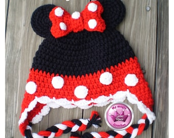 Minnie Mouse Crochet Hat Made with Soft yarn