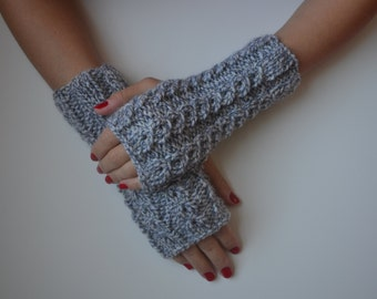 Hand Knit Gray Fingerless Gloves, Gray Mittens, Women Accessories, Winter Fashion