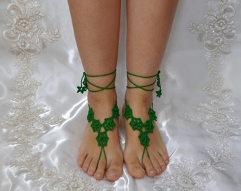 Cotton Crochet Green Sandals, Barefoot Sandals, Wedding, Bellydance, Yoga, Pool, Lace, Motif, Beach, Nude Shoes, Anklet, Bridal accessories