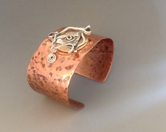 gifts for her, Gifts for Women,Mixed metal cuff bracelet, wide cuff metal bracelet, cuff bracelet with silver charm