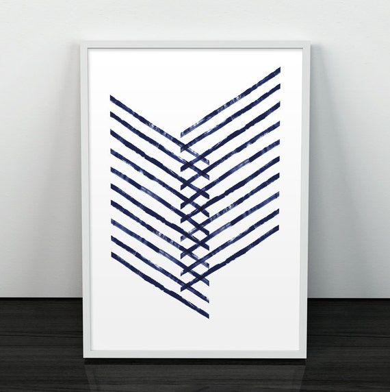 Geometric minimalist print modern art blue lines geometric for Modern minimalist wall art