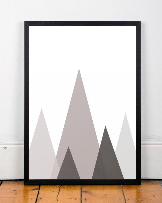 mountains poster geometric print geometric mountain home. Black Bedroom Furniture Sets. Home Design Ideas