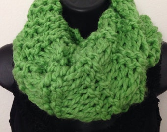 Beautiful Hand Knit Infinity Scarf Infused with Reiki & Positive Energy (Crabapple)