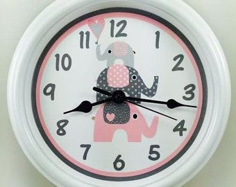 Personalized MY THREE ELEPHANTS  Nursery Wall Clock