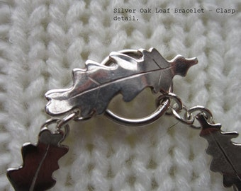 Hand made silver oak leaf bracelet.