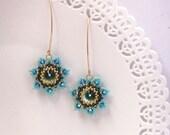 Turquoise flower earrings, Flower dangle earrings, Long turquoise earrings, Turquoise gold earrings, Beadwork earrings, Swarovski earrings