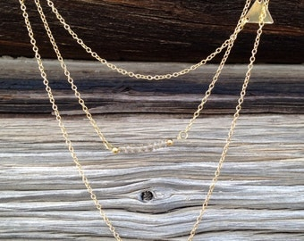 Triple Layered Necklace Gold Layered Necklace Delicate Necklace