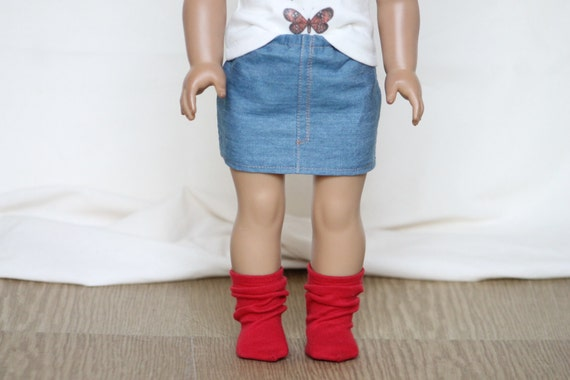 Light Wash Denim Mini Skirt for American Girl Dolls
