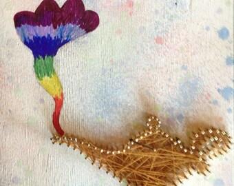 Alladin lamp string art, Genie lamp, splatter paint