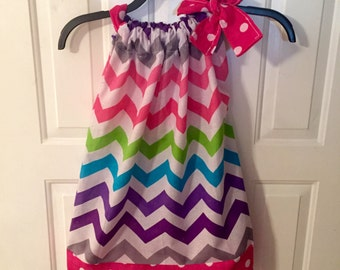 Rainbow Chevron Pillowcase Dress!