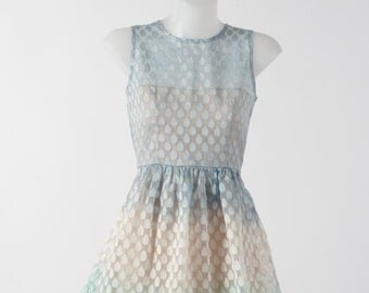 Sheer ombre A-line Dress - Teardrop Print; Gradiented Goodness