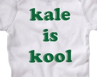 Kale is Kool, cool superfood vegetable, american apparel veggies vegetarian vegan salad baby healthy eat green fruit onesie infant toddler