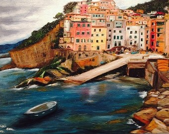 CINQUE  TERRA   wonderful original oil painting  breathtaking Italian landscape unique and colorful.NOW******* Free Shipping*******