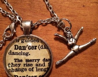 Word Pendant DANCER Dictionary Necklace Made From Antique Dictionary dance gift teacher student