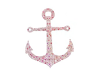 Rhinestone iron on pink anchor patch appliqué for DIY fashion crafts and home decor