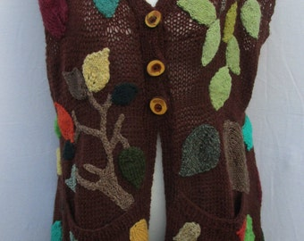 Hand knitted Leaf sleeveless cardigan