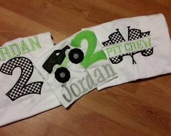 Monster truck & pit crew shirt set