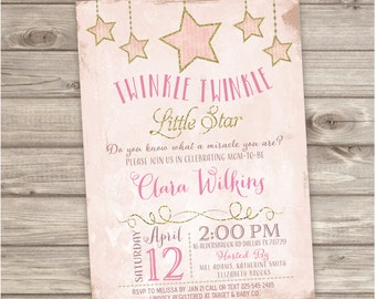 Twinkle Twinkle Little Star Baby Shower Invitations Shabby Chic Pink Gold Glitter Theme Party girl