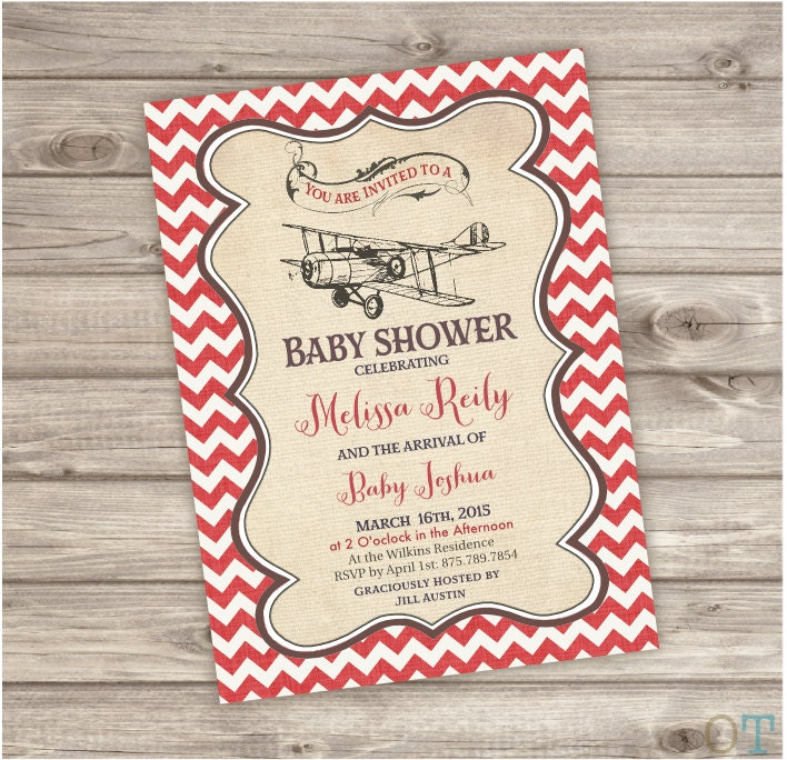 vintage airplane baby shower invitations rustic theme party