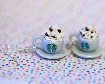 Miniature Starbucks Cappuccino Earrings