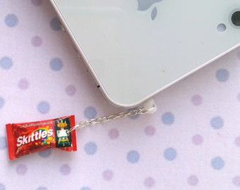 Miniature Skittles Candy dust plug, phone charm, cell phone strap, iphone, ipad